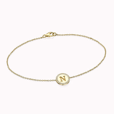 "Diamond Initial Disc Bracelet Bracelets 14K Solid Gold 14k Yellow Gold A Adjustable 5-6"" (13cm-15cm)"
