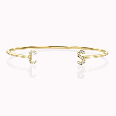 Diamond Initial Open Bangle Bracelets 14K Solid Gold 14k Yellow Gold