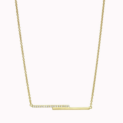 "Diamond Layering Bar Necklace Necklace 14K Solid Gold 14k Yellow Gold Adjustable 16-17"" (40cm-43cm)"