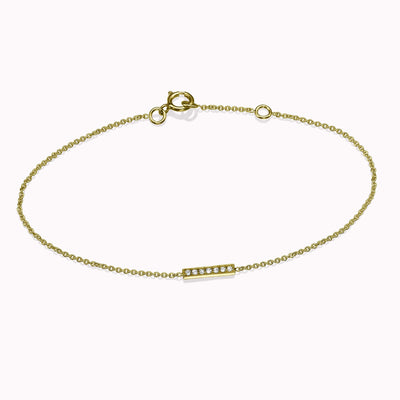"Diamond Mini Bar Bracelet Bracelets 14K Solid Gold 14k Yellow Gold Adjustable 6-7"" (15cm-18cm)"
