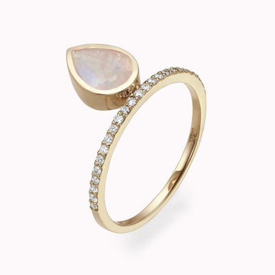 Diamond & Moonstone Solitaire Ring 14K Solid Gold 4 14k Yellow Gold