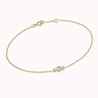 Diamond & Opal Bracelet Bracelets 14K Solid Gold 14k Yellow Gold Adjustable 6-7″ (15cm-18cm)