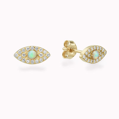 Diamond & Opal Evil Eye Earrings 14K Solid Gold 14k Yellow Gold