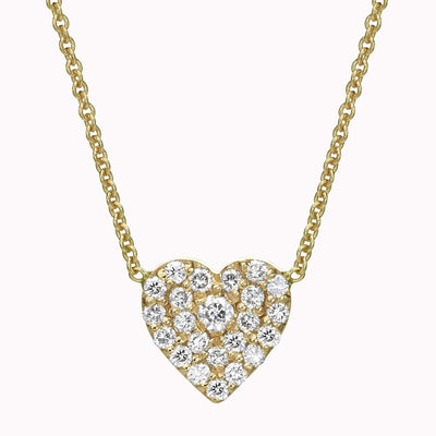 "Diamond Pave Heart Necklace Necklace 14K Solid Gold 14k Yellow Gold Adjustable 16-17"" (40cm-43cm)"