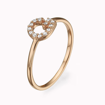 Diamond paved Gothic Initial Ring Ring 14K Solid Gold