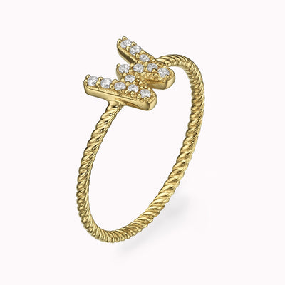 Diamond Paved Gothic Initial Twisted Ring Ring 14K Solid Gold