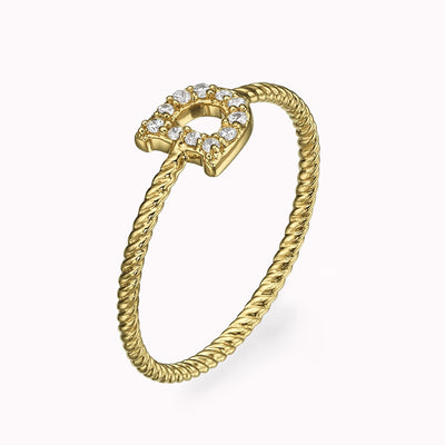 Diamond Paved Roman Initial Twisted Ring Ring 14K Solid Gold