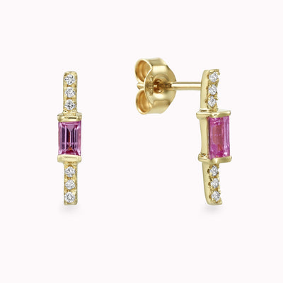 Diamond & Pink Sapphire Baguette Earrings Earrings 14K Solid Gold 14k Yellow Gold