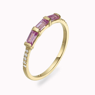 Diamond & Pink Sapphire Baguette Ring Ring 14K Solid Gold 4 14k Yellow Gold