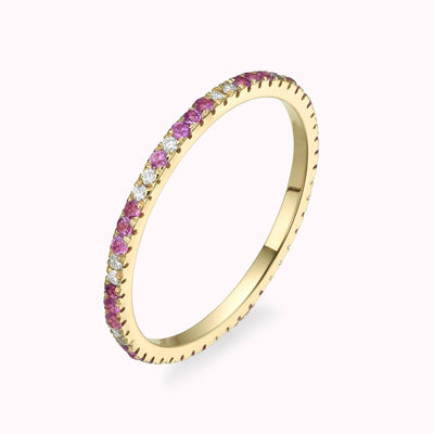 Diamond & Pink Sapphire Eternity Ring Ring 14K Solid Gold 4 14k Yellow Gold