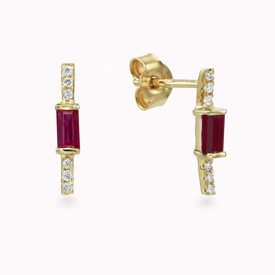 Diamond & Ruby Baguette Earrings Earrings 14K Solid Gold 14k Yellow Gold