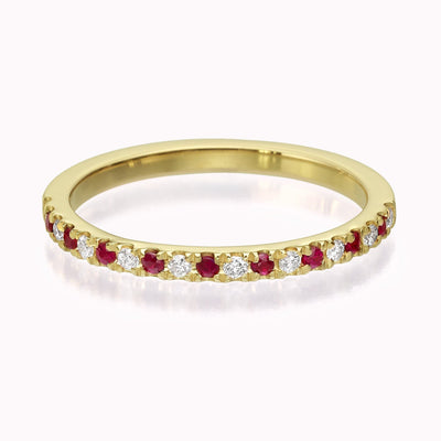 Diamond & Ruby Eternity Ring Ring 14K Solid Gold 4 14k Yellow Gold