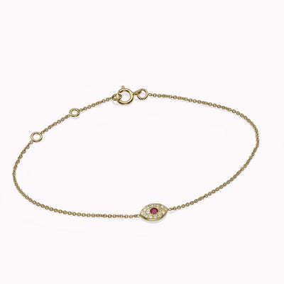 Diamond & Ruby Evil Eye Bracelets 14K Solid Gold 14k Yellow Gold Adjustable 6-7″ (15cm-18cm)