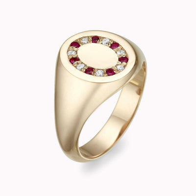 Diamond & Ruby Signet Ring Ring 14K Solid Gold 4 14k Yellow Gold