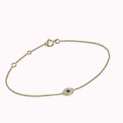 Diamond & Sapphire Evil Eye Bracelets 14K Solid Gold 14k Yellow Gold Adjustable 6-7″ (15cm-18cm)
