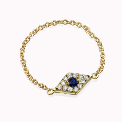 Diamond & Sapphire Evil Eye Chain Ring Ring 14K Solid Gold 4 14k Yellow Gold