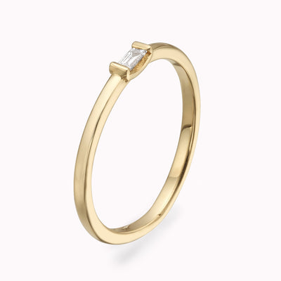 Diamond Single Baguette Ring Ring 14K Solid Gold