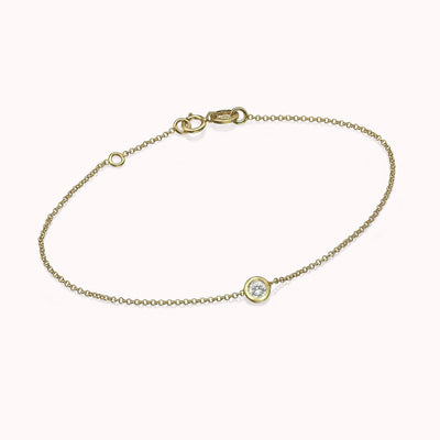 "Diamond Solitaire Bracelet Bracelets 14K Solid Gold 14k Yellow Gold Adjustable 6-7"" (15cm-18cm)"