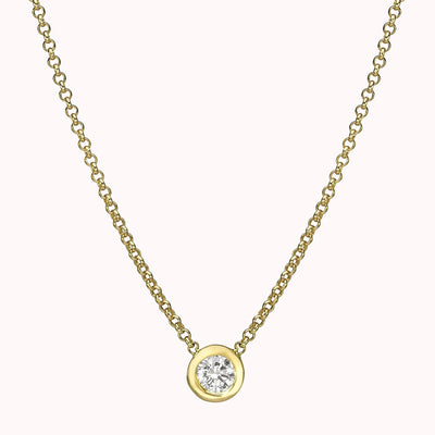 "Diamond Solitaire Necklace Necklace 14K Solid Gold 14k Yellow Gold Adjustable 16-17"" (40cm-43cm)"