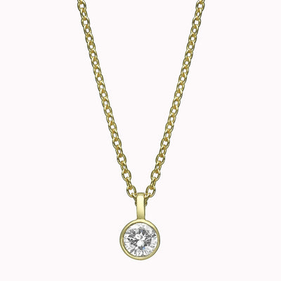 "Diamond Solitaire Pendant Necklace 14K Solid Gold 14k Yellow Gold Adjustable 16-17"" (40cm-43cm)"