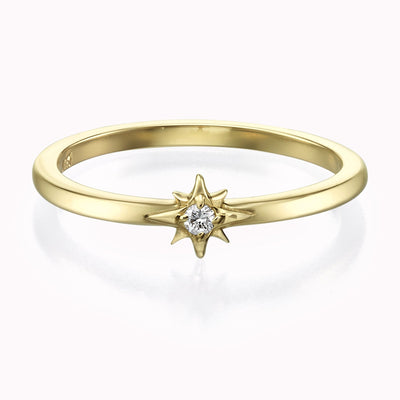 Diamond Star Ring Ring 14K Solid Gold 4 14k Yellow Gold