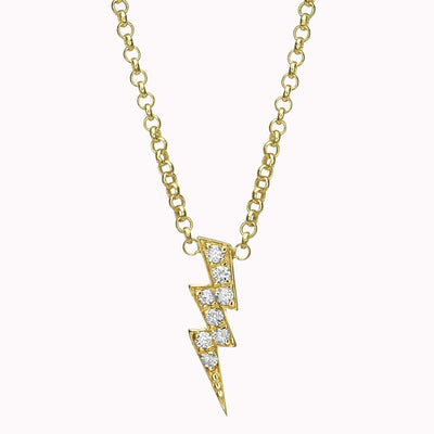 "Diamond Thunder Necklace Necklace 14K Solid Gold 14k Yellow Gold Adjustable 16-17"" (40cm-43cm)"