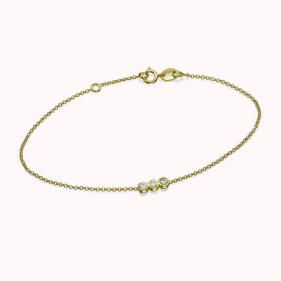 "Diamond Trio Bracelet Bracelets 14K Solid Gold 14k Yellow Gold Adjustable 6-7"" (15cm-18cm)"