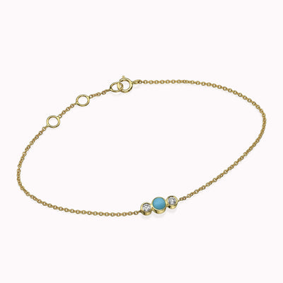 Diamond & Turquoise Bracelet Bracelets 14K Solid Gold 14k Yellow Gold Adjustable 6-7″ (15cm-18cm)