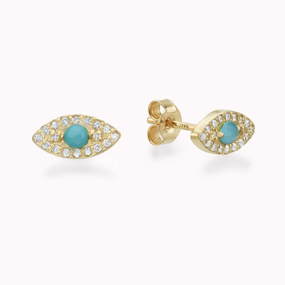 Diamond & Turquoise Evil Eye Earrings 14K Solid Gold 14k Yellow Gold