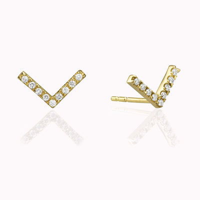 Diamond V Earrings Earrings 14K Solid Gold 14k Yellow Gold