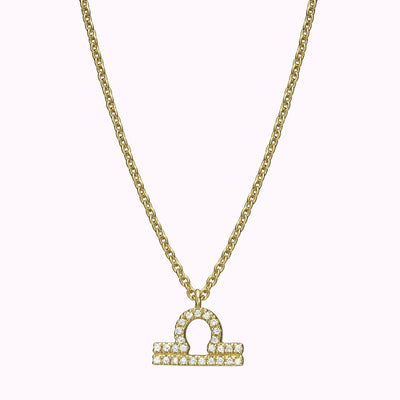 Diamond Zodiac pendant Necklace 14K Solid Gold