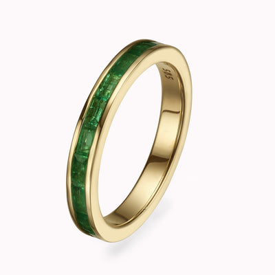 Emerald Baguette Eternity Ring Ring 14K Solid Gold 4 14k Yellow Gold