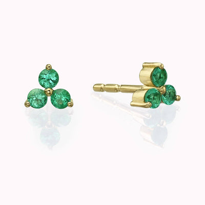 Emerald Cluster Earrings Earrings 14K Solid Gold 14k Yellow Gold