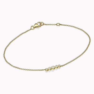 "Five Diamonds Bracelet Bracelets 14K Solid Gold 14k Yellow Gold Adjustable 6-7"" (15cm-18cm)"