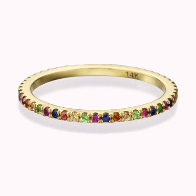 Gemstone Rainbow Eternity Ring Ring 14K Solid Gold 4 14k Yellow Gold