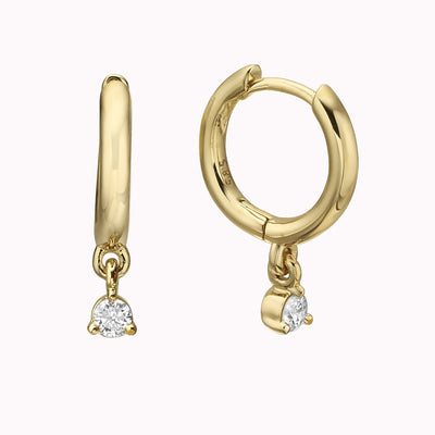 Gold Hoop with Dangling Diamond Bezel Earrings 14K Solid Gold 14k Yellow Gold