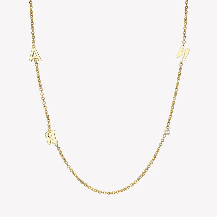14k Gold Triple Asymmetrical Initials & Single Diamond Bezel Necklace Necklace 14K Solid Gold 14k Yellow Gold A