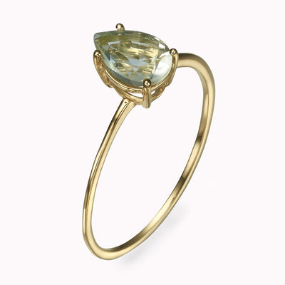 Green Amethyst Pear Shape Ring Ring 14K Solid Gold 4 14k Yellow Gold