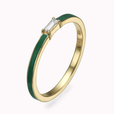 Green Enamel Baguette Diamond Ring Ring 14K Solid Gold 4 14k Yellow Gold