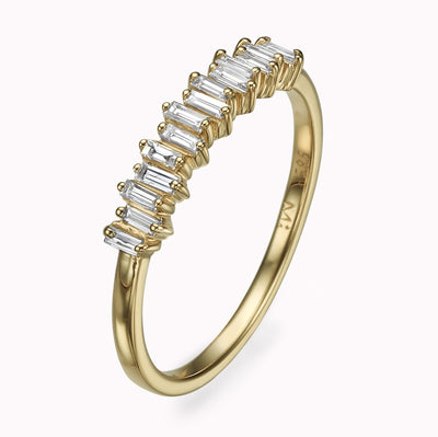 Half Eternity Diamond Baguette Ring Ring 14K Solid Gold 4 14k Yellow Gold