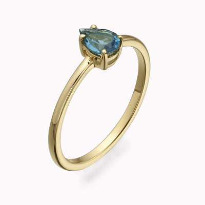 London Blue Topaz Pearshape Ring Ring 14K Solid Gold 4 14k Yellow Gold