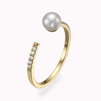 Open Diamond and Pearl Ring Ring 14K Solid Gold 4 14k Yellow Gold