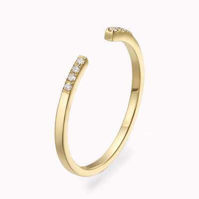 Open Diamond Ring Ring 14K Solid Gold 4 14k Yellow Gold