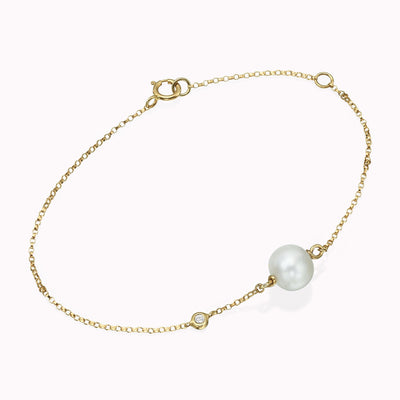 "Pearl and Diamond Bezel Bracelet Bracelets 14K Solid Gold 14k Yellow Gold Adjustable 6-7"" (15cm-18cm)"