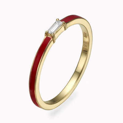 Red Enamel Baguette Diamond Ring Ring 14K Solid Gold 4 14k Yellow Gold