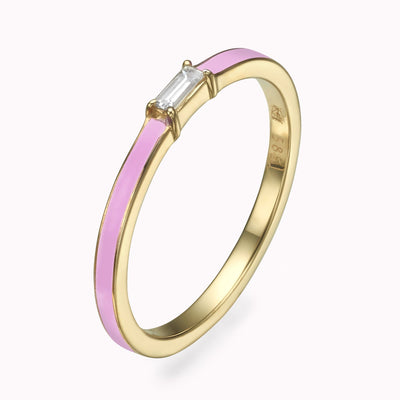 Rose Enamel Baguette Diamond Ring - Magal jewelry