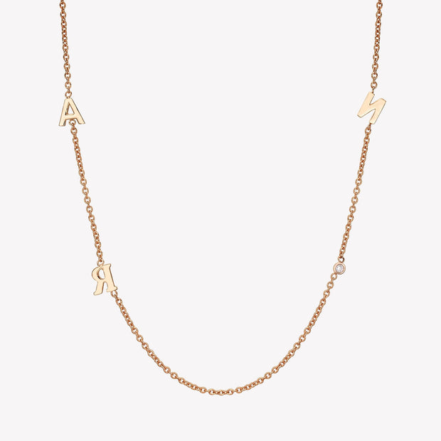 14k Gold Triple Asymmetrical Initials & Single Diamond Bezel Necklace Necklace 14K Solid Gold 14k Rose Gold A