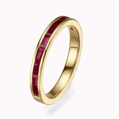 Ruby Baguette Eternity Ring Ring 14K Solid Gold 4 14k Yellow Gold
