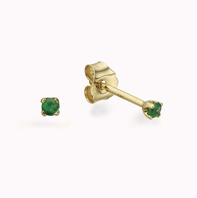 Tiny Emerald Gold Studs Earrings 14K Solid Gold 14k Yellow Gold