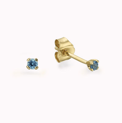 Tiny London Blue Topaz Studs Earrings 14K Solid Gold 14k Yellow Gold